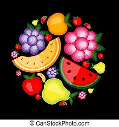 energia, fruta, desenho, seu, fundo
