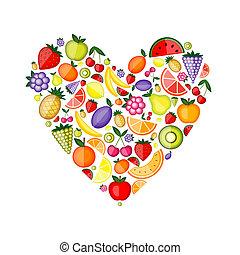 energia, fruta, forma coração, para, seu, desenho