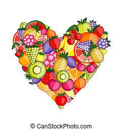 energia, frutta, forma cuore, per, tuo, disegno