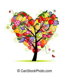 energia, gyümölcs fa, szív alakzat, helyett, -e, tervezés