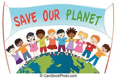 energia, gyerekek, mienk, csoport, globe., transzparens, befolyás, mindegyik, ökológiai, fenntartható, multi-ethnic, eco-environment, más, különböző, megment, egység, megragad, bolygó