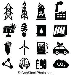 energia, ikona, komplet