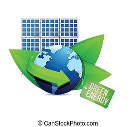 energia, illustrazione, etichetta, verde, pannello solare