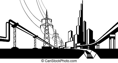 energia, instalações, fornecer