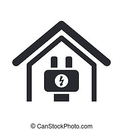 energia, isolado, ilustração, único, vetorial, lar, ícone