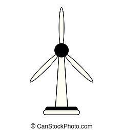 energia, isolado, pretas, verde branco, turbina, vento