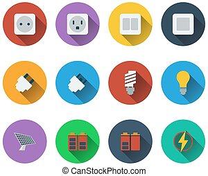 energia, jogo, ícones