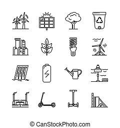 energia, jogo, ecologia, linha, ícones