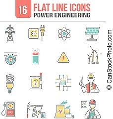 energia, jogo, linha, poder, ícones