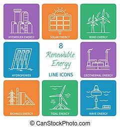 energia, jogo, linha, renovável, ícones