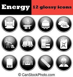 energia, jogo, lustroso, ícones