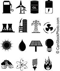 energia, jogo, poder, ícones