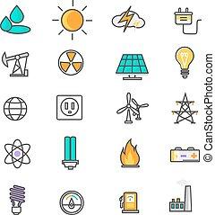 energia, jogo, recurso, ícone