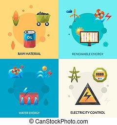 energia, jogo, recursos, ícones