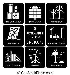energia, jogo, silueta, renovável, ícones
