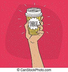 energia, ligado, copo de papel, de, café