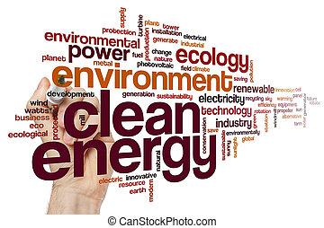 energia limpa, palavra, nuvem