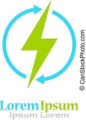 energia, logotipo, renovável, vetorial