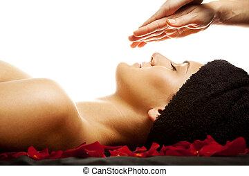 energia, massagem facial