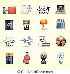 energia nuclear, ícones, fundo amarelo