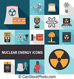 energia nuclear, jogo, ícones, apartamento
