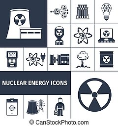energia nuclear, jogo, pretas, ícones