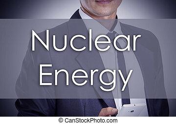 energia nuclear, -, jovem, homem negócios, com, texto, -, conceito negócio