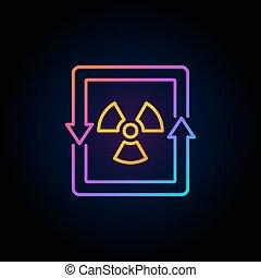 energia nucleare, concetto, colorito, icona