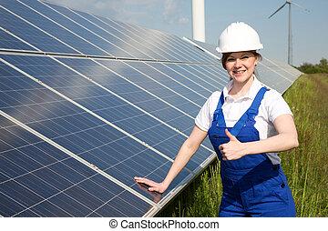 energia, painéis, posar, solar, engenheiro
