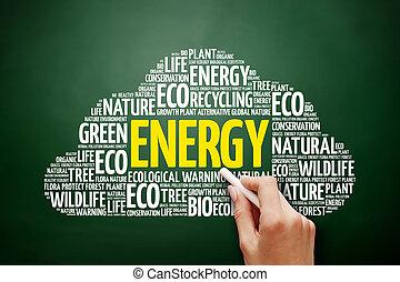 energia, palavra, nuvem, colagem