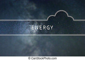 energia, palavra, nuvem, concept., espaço, experiência.
