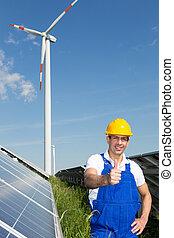 energia, parque, solar, turbina, painéis, vento, engenheiro