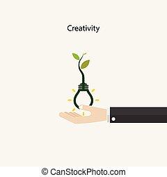 energia, pianta, umano, affari, eco, luce, segno., illustrazione, mano, concept., concept.tree, vettore, sign.green, crescente, bulbo, educazione, dentro, conoscenza