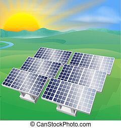 energia, poder solar, ilustração
