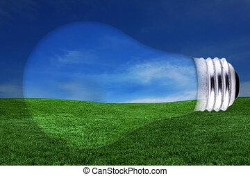 energia, pojęcie, z, lightbulb, i, krajobraz, pojęcie