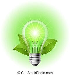 energia, poupar, lâmpada