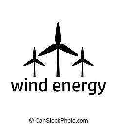 energia, pretas, vento, ícone