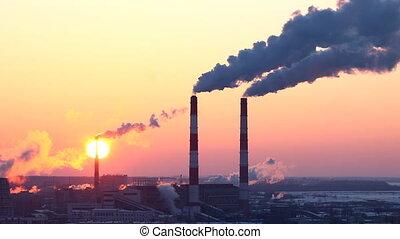 energia, produkcja, rura, z, dym, i, słońce