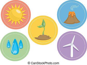 energia, renovável, ícones