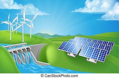 energia renovável, ou, geração de energia, métodos