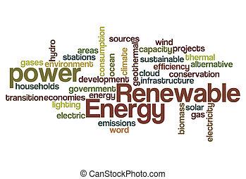 energia renovável, palavra, nuvem