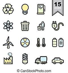 energia, set, icone