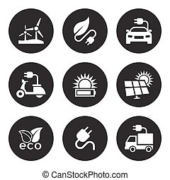 energia, set, solare, icone