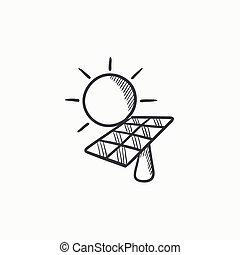 energia, solar, icon., esboço