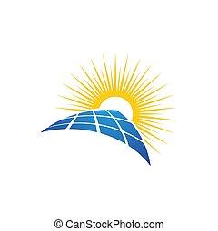 energia, solar, ilustração, vetorial, ícone