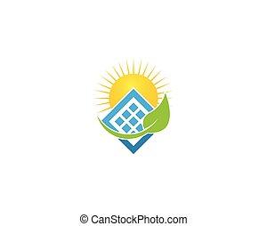 energia solar, painel, vetorial, logotipo