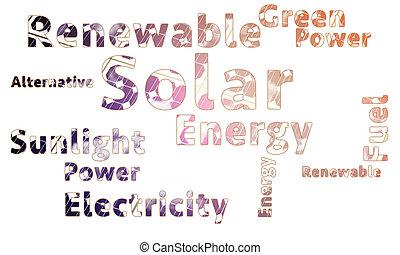 energia solar, palavra, nuvem