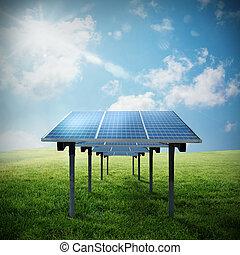 energia, solar, renovável, painel