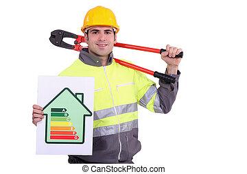 energia, trabalhador construção, certificado