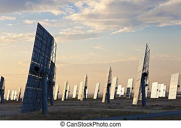 energia, tramonto, solare, specchio, verde, pannelli, o, alba